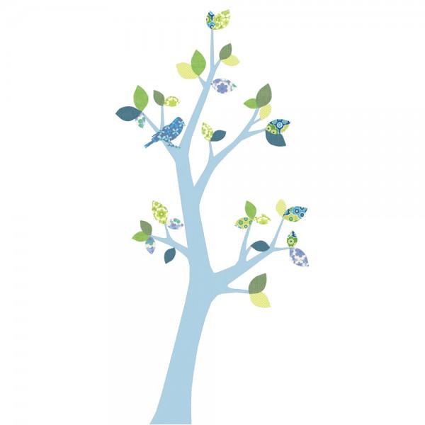 Inke Tapetenbaum 3 Stamm hellblau Blätter blau grün