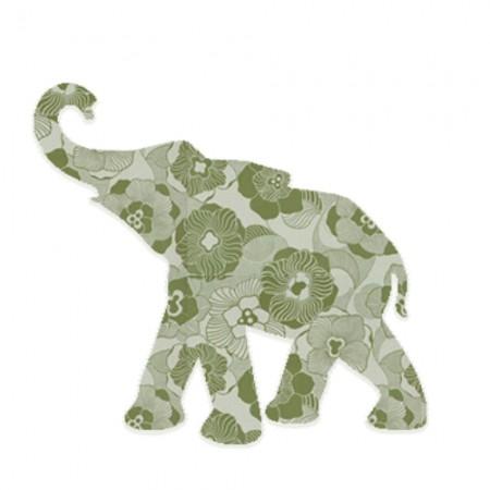Inke Babyelefant Blumenranke oliv