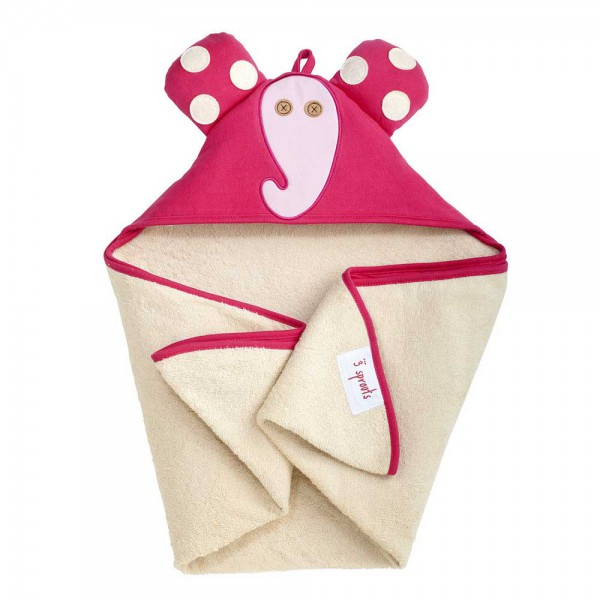 3 Sprouts Kapuzenbadetuch Elefant pink