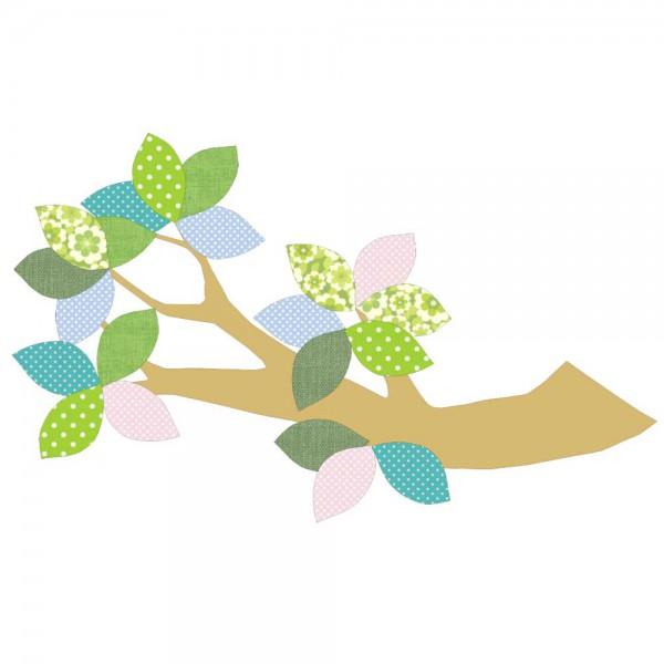 Inke Tapetenast gold Blätter grün blau rosa