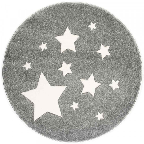 Scandic Living Kinderteppich rund Sterne silbergrau
