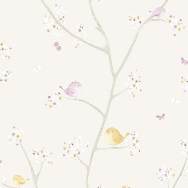 Casadeco My Little World Stoff Vögelchen lila grau lime