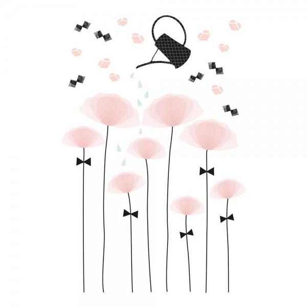 Lilipinso Wandsticker XL rosa Mohnblüten mit Gießkanne