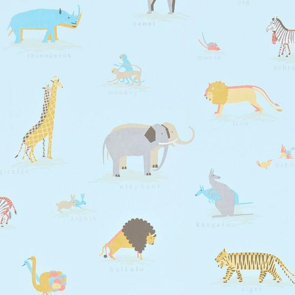 Little Sanderson Abracazoo Motivstoff Safari Tiere hellblau