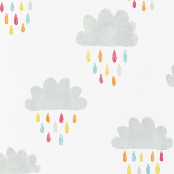 Scion Guess Who Tapete Wolken & Regentropfen grau bunt