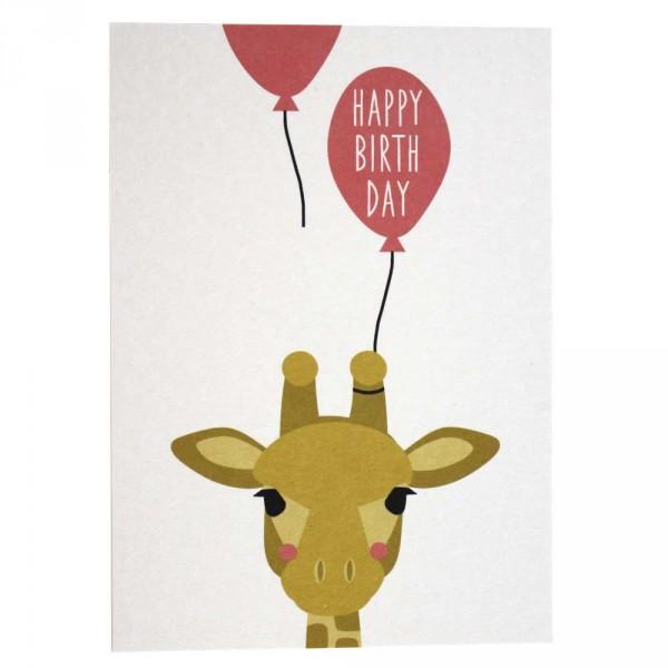 Ava & Yves Postkarte Geburtstag Giraffe