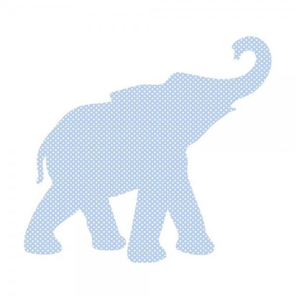 Inke Tapetentier Babyelefant hellblau Punkte weiss