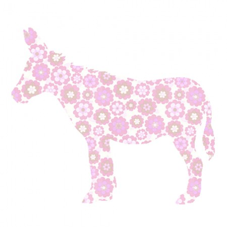 Inke Tapetentier Esel Blumen rosa