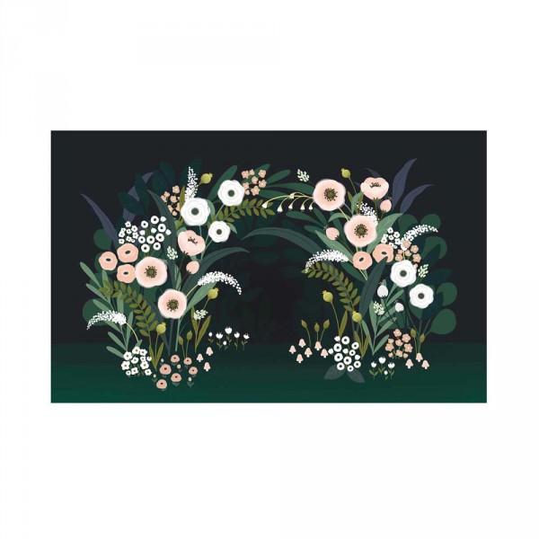 Lilipinso Vlies Wandbild Blütenbogen rosa grün schwarz