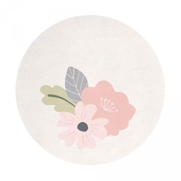 Lilipinso Teppich Blüten rosa auf weiss