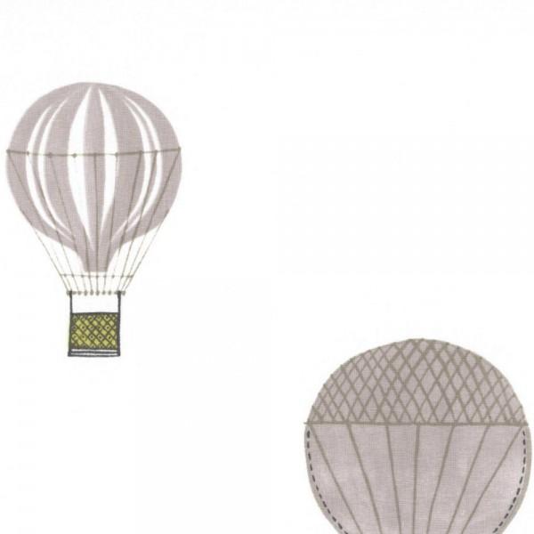 Casadeco Stoff Heissluftballons grau lime Jules & Julie