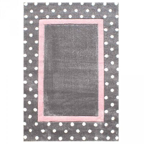 Livone Kinderteppich Punkte grau rosa
