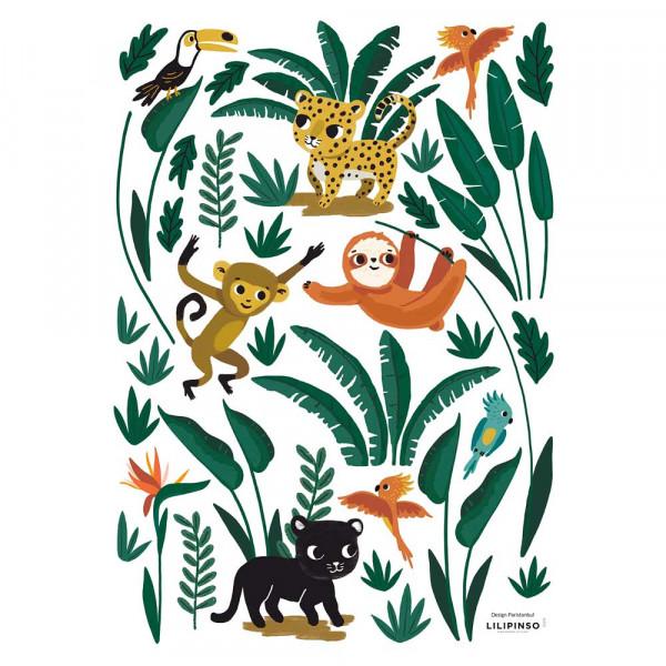 Lilipinso Wandsticker A3 Dschungelfreunde grün braun