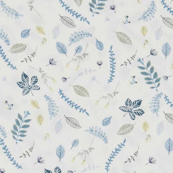 Cam Cam Spannbettlaken 70 x 140 cm Blätter blau