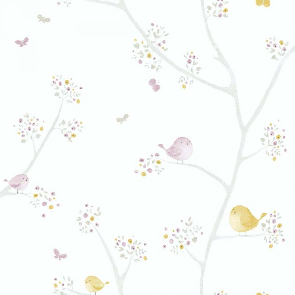 Casadeco My Little World Tapete Vögelchen lila grau lime