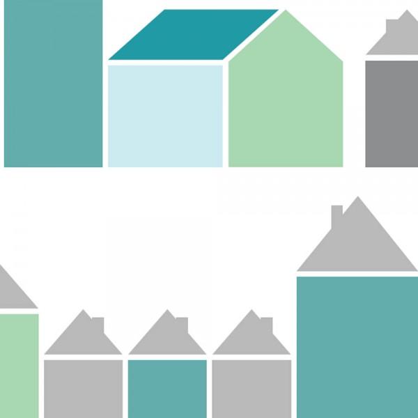 Inke Tapeten Wandbild Häuser blau