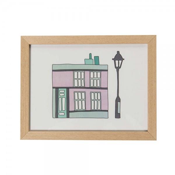 Sebra Kinderbild Haus & Laterne rosa