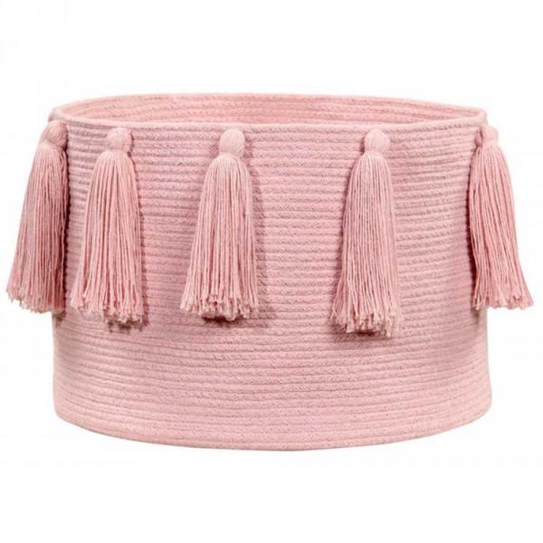 Lorena Canals Korb Quasten Baumwolle rosa