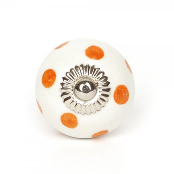 Knaufmanufaktur Möbelknauf Keramik weiss Punkte orange