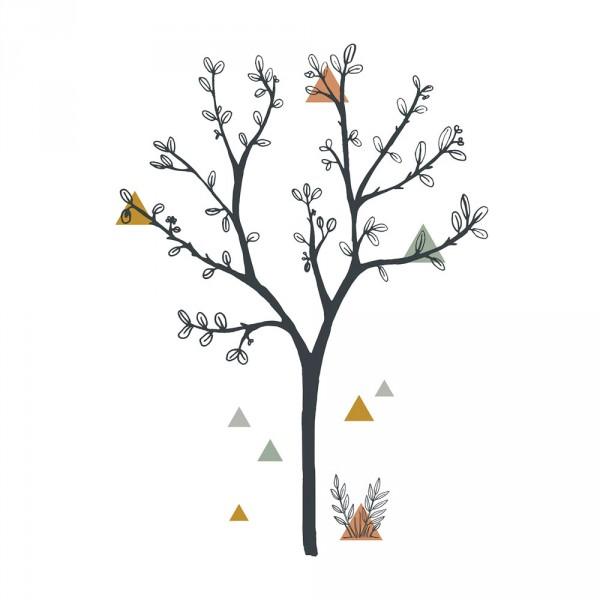 Lilipinso Wandsticker XL Baum und Dreiecke schwarz ocker grau
