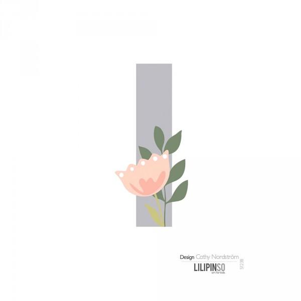 Lilipinso Sticker Buchstabe mit Blüten grau rosa pastell I