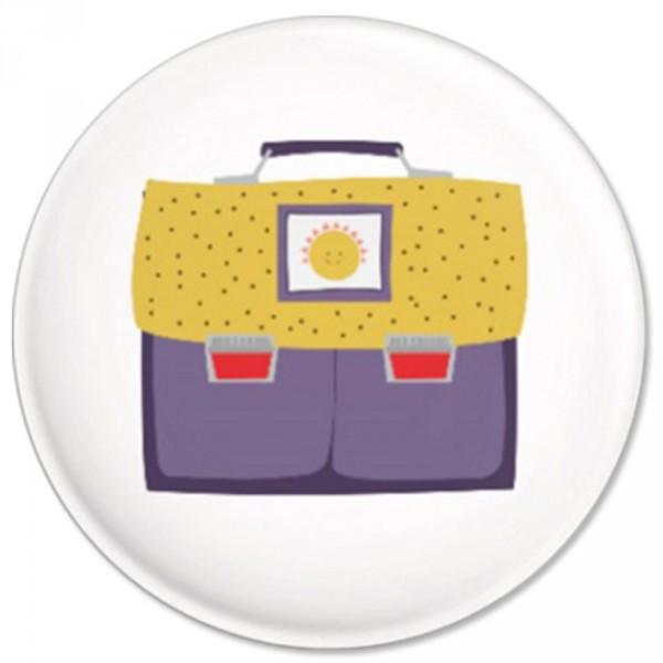 Ava & Yves Kinder Button / Anstecker Ranzen gelb