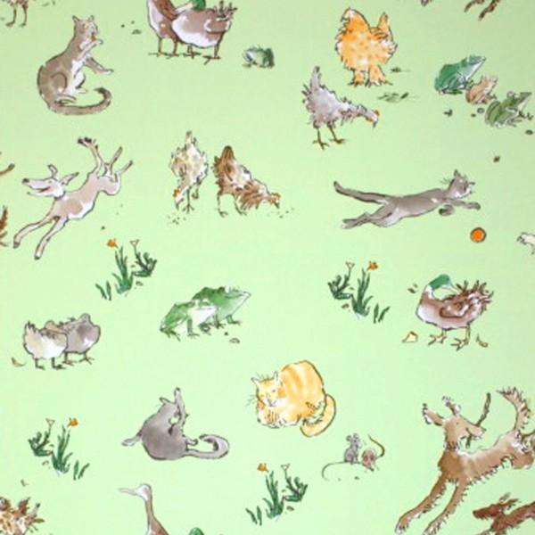 Osborne & Little Tapete Tiere grün