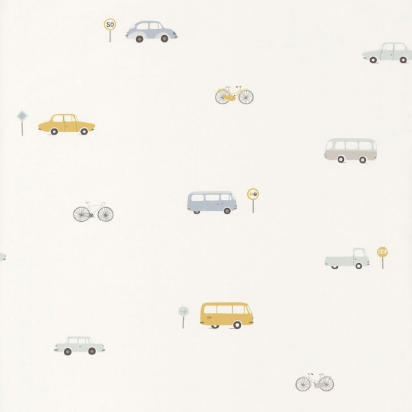Casadeco Kindertapete Happy Dreams Fahrzeuge blau gelb