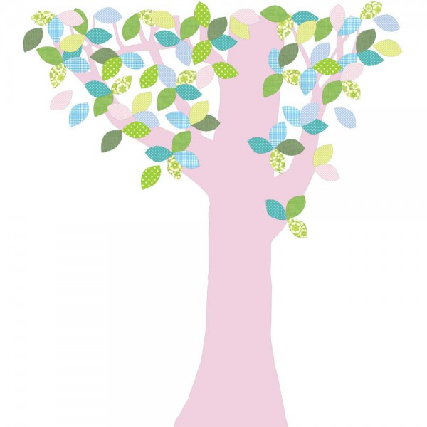 Inke Tapetenbaum 1 Stamm rosa Blätter grün blau rosa