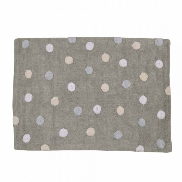 Lorena Canals Baumwollteppich waschbar farbige Punkte grau blau