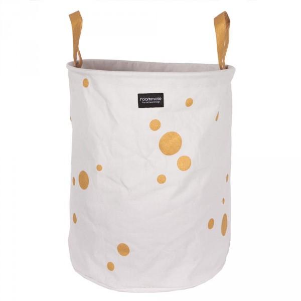 Roommate Aufbewahrungskorb / Wäschekorb Punkte gold