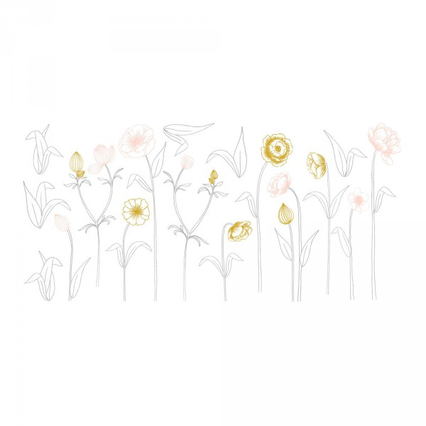Lilipinso Wandsticker XL Blüten mit Stiel rosa grau ocker