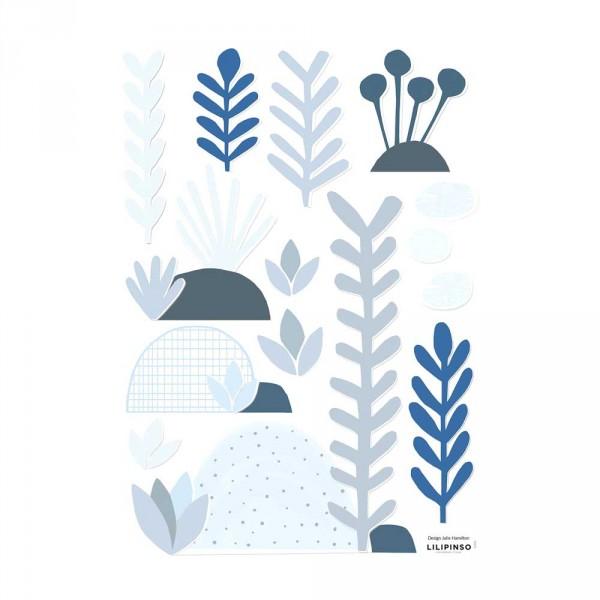Lilipinso Wandsticker A3 Blüten und Blätter hellblau grau