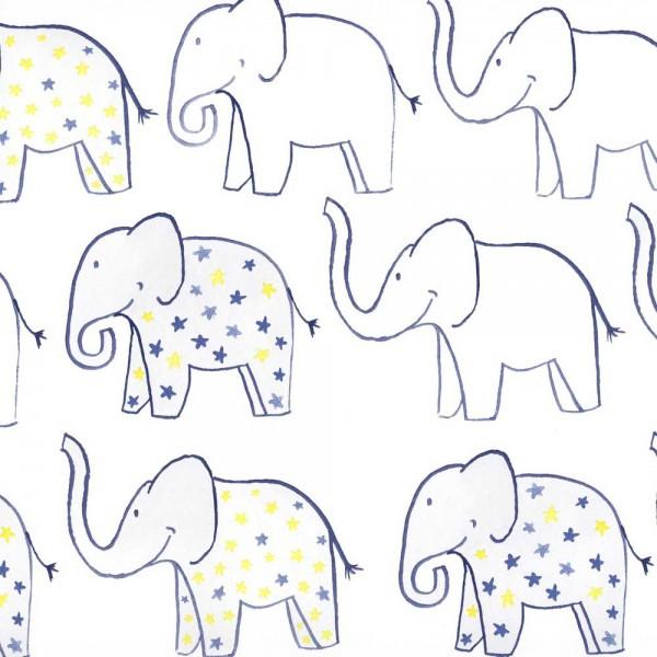 Camengo Tapete Summer Camp Elefanten blau gelb