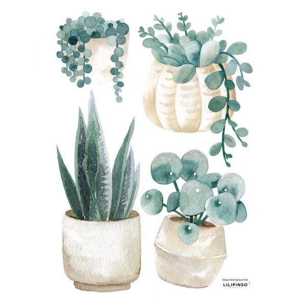 Lilipinso Wandsticker A3 Topfpflanzen zartgrün beige