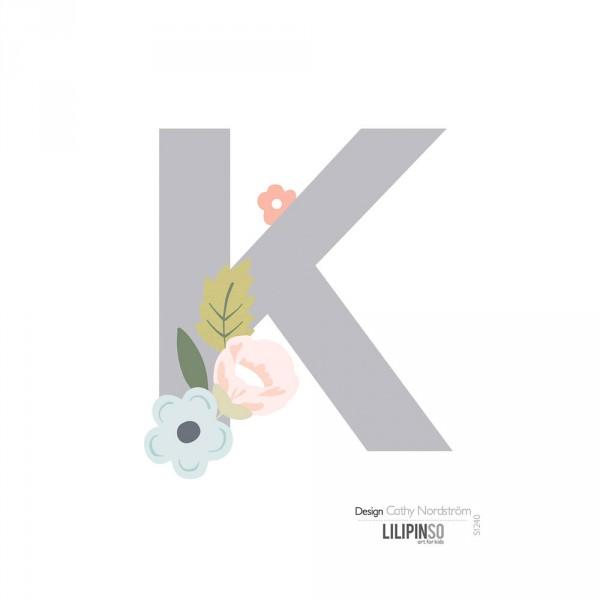 Lilipinso Sticker Buchstabe mit Blüten grau rosa pastell K