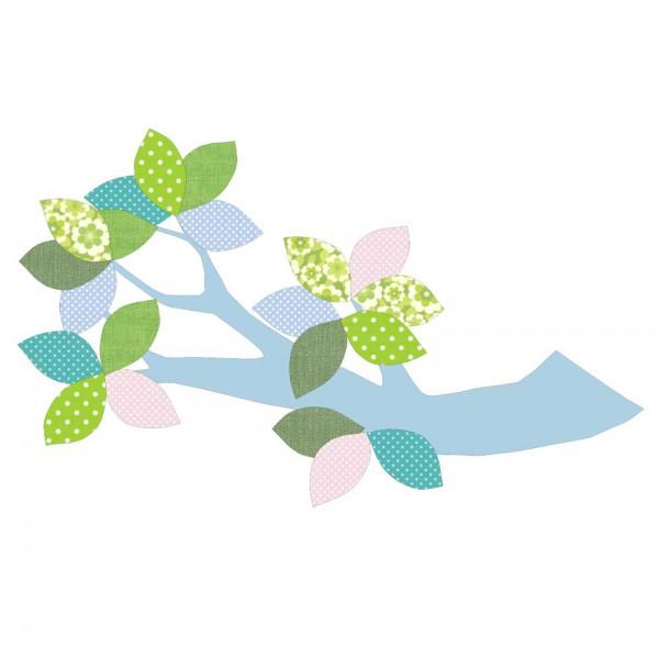 Inke Tapetenast hellblau Blätter grün blau rosa