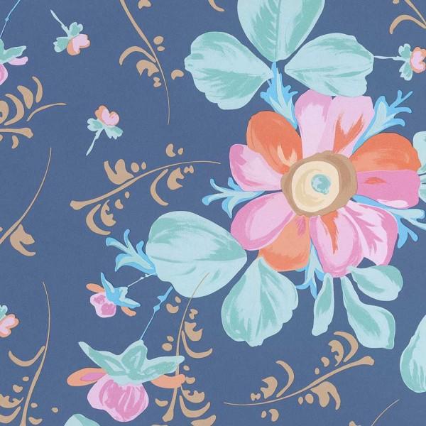 Rice Tapete große Blumen blau