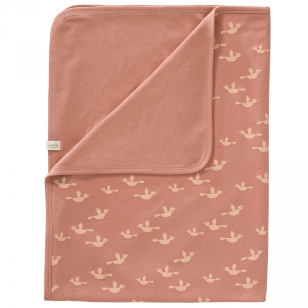 Fresk Babydecke Vögel rosa