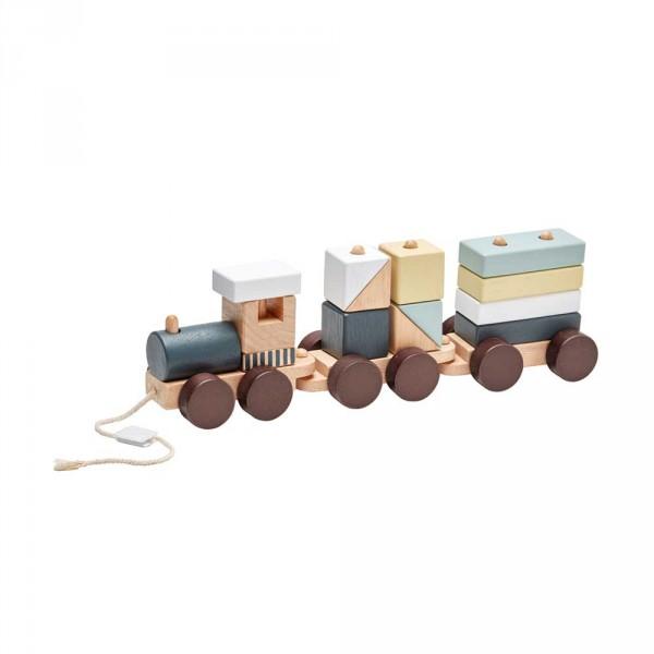 Kids Concept Spielzeug Zug mit Holzklötzen