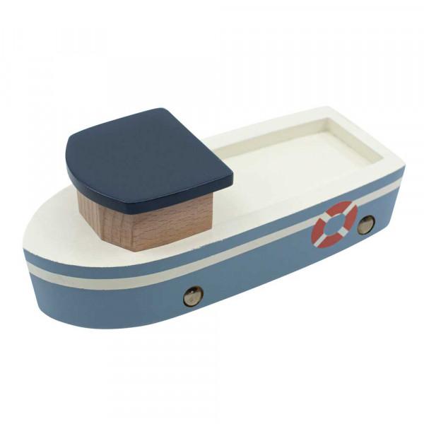 Sebra Fischerboot Holz blau weiss