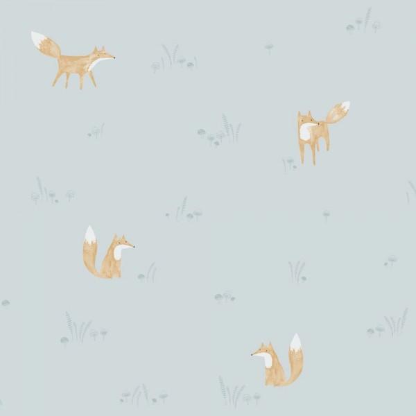 Casadeco My Little World Tapete Füchse braun blau