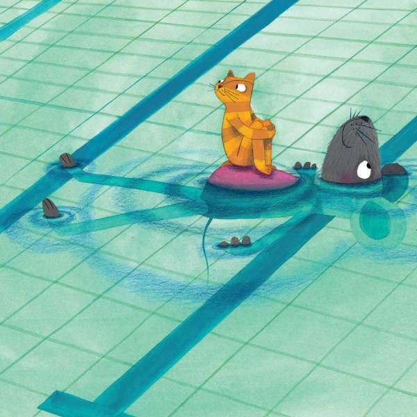Kek Amsterdam Kinderposter Katze & Maus im Schwimmbad