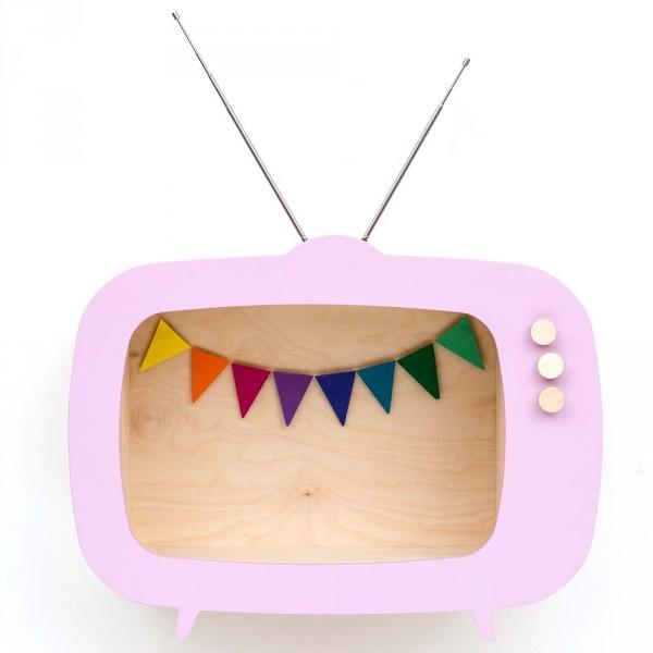 Up Warsaw Wandregal TV Fernseher Tiwi rosa