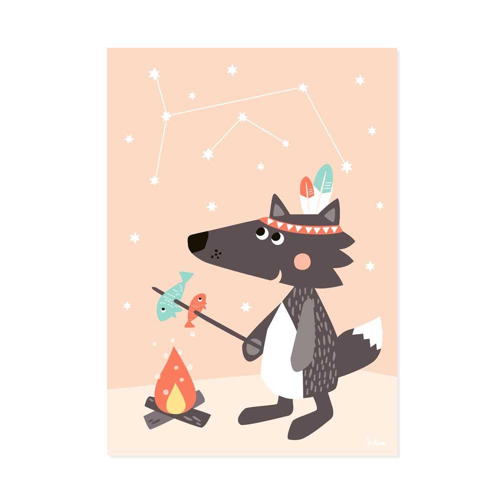 Julica Tipikids Kinder Poster Sternenhimmel Kleiner Wolf puder bei ...