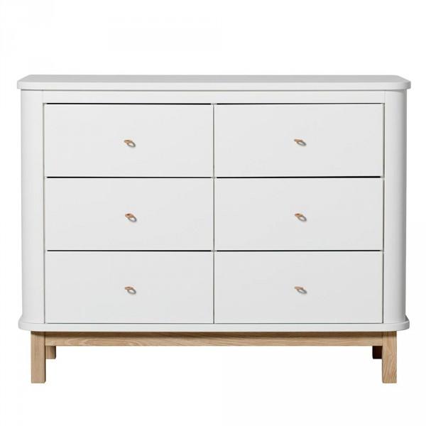 Oliver Furniture Wood Kommode 6 Schubladen weiss/Eiche
