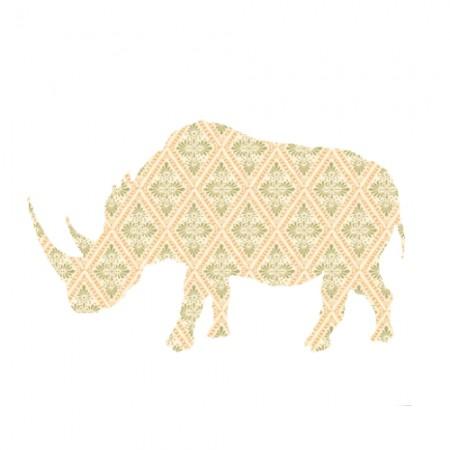 Inke Tapetentier Nashorn Raute beige