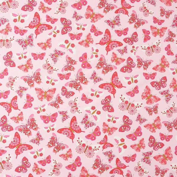 Caselio Girls only Stoff Schmetterlinge rosa