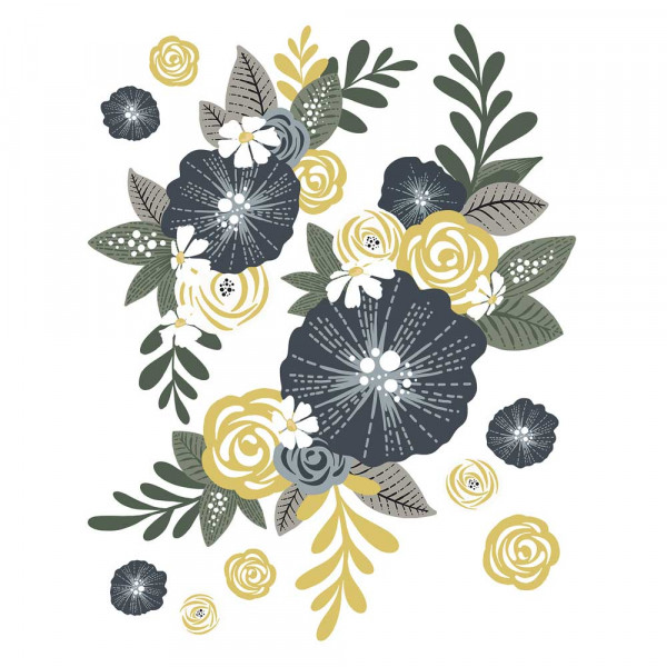 Lilipinso Wandsticker Blumensträusse senf grau
