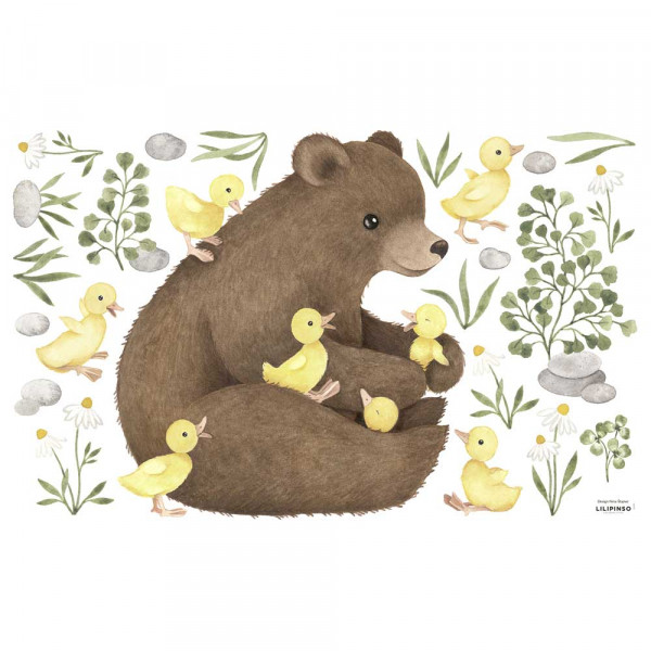 Lilipinso Wandsticker M Entenküken mit Bär gelb braun